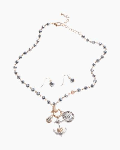 Exclusive Hope Anchor Necklace and Earrings Set in Silver