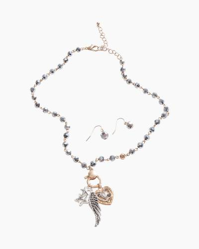 Exclusive Angel Wing Necklace and Earrings Set in Silver