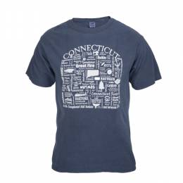 Where Life Takes You Words of Connecticut Men's Denim Blue Tee