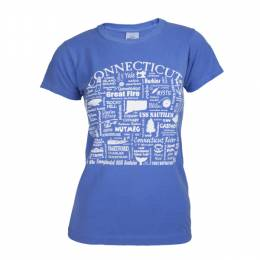 Where Life Takes You Words of Connecticut Women's Flo Blue Tee