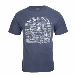 Where Life Takes You Words of New Jersey Men's Denim Blue Tee