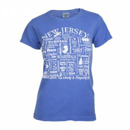 Where Life Takes You Words of New Jersey Women's Flo Blue Tee