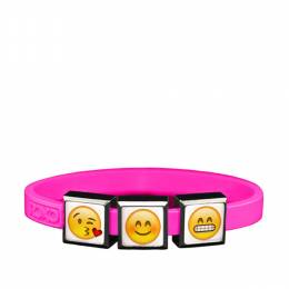 Top Trenz Emoji Kiss Face, Blushing Smile Face and the Grinning Smiley Face Charm Bracelet