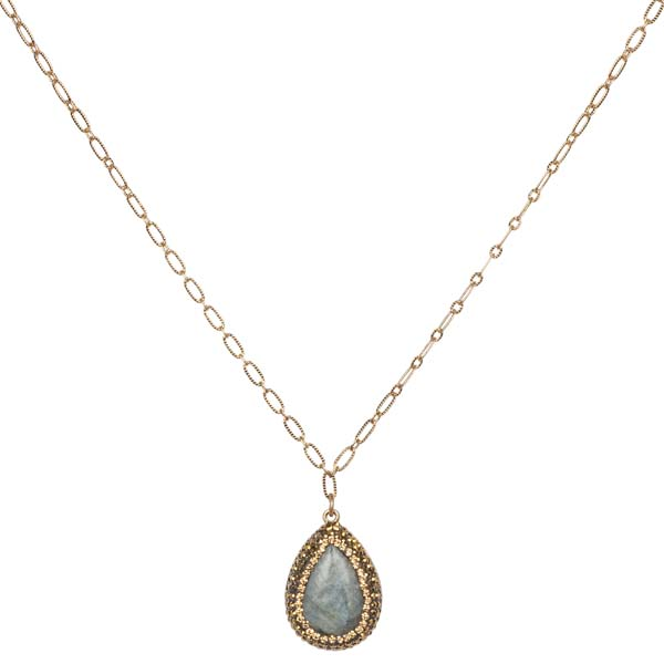 Mia and Tess Pave Teardrop Necklace