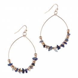 Mia and Tess Beaded Wire Teardrop Hoop Earrings in Blue