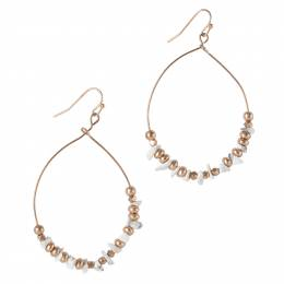 Mia and Tess Beaded Wire Teardrop Hoop Earrings in White