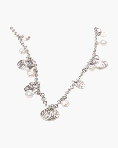 Exclusive Pearl and Disc Station Necklace
