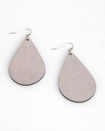 Metallic Teardrop Earrings in Grey