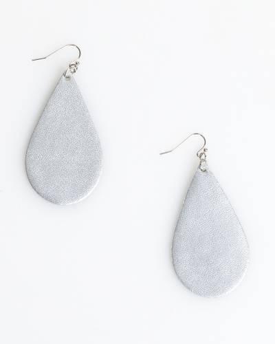 Metallic Teardrop Earrings in Silver