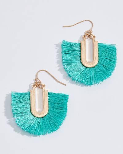 Fringe U Earrings in Turquoise