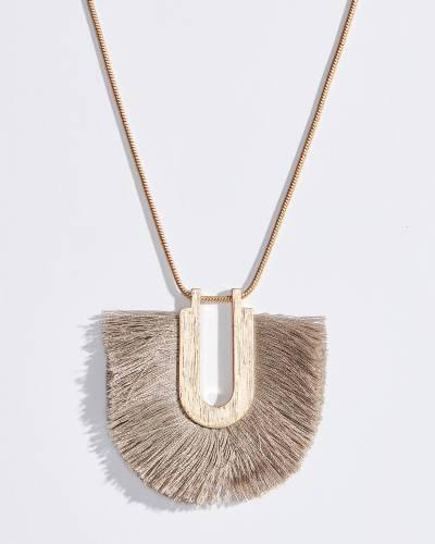Fringe U Pendant Necklace in Grey