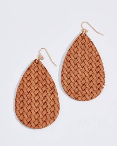 Faux Leather Woven Teardrop Earrings in Brown