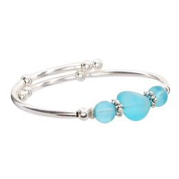 Crazyartgrrl Aqua Sea Glass Silver Bracelet