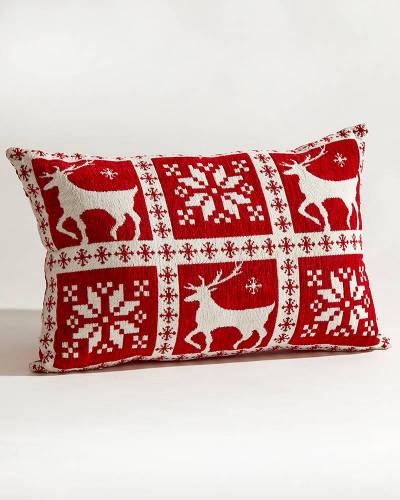 Red Reindeer Chenille Throw Pillow