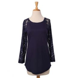 Dantelle Navy Lace Sleeve Top