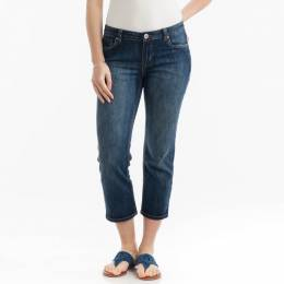 Adorn Fashions Stretched Denim Capris in Denim