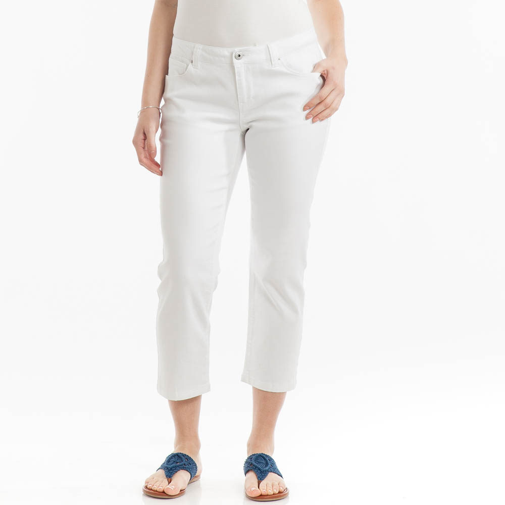 Adorn Fashions Stretched Denim Capris in White