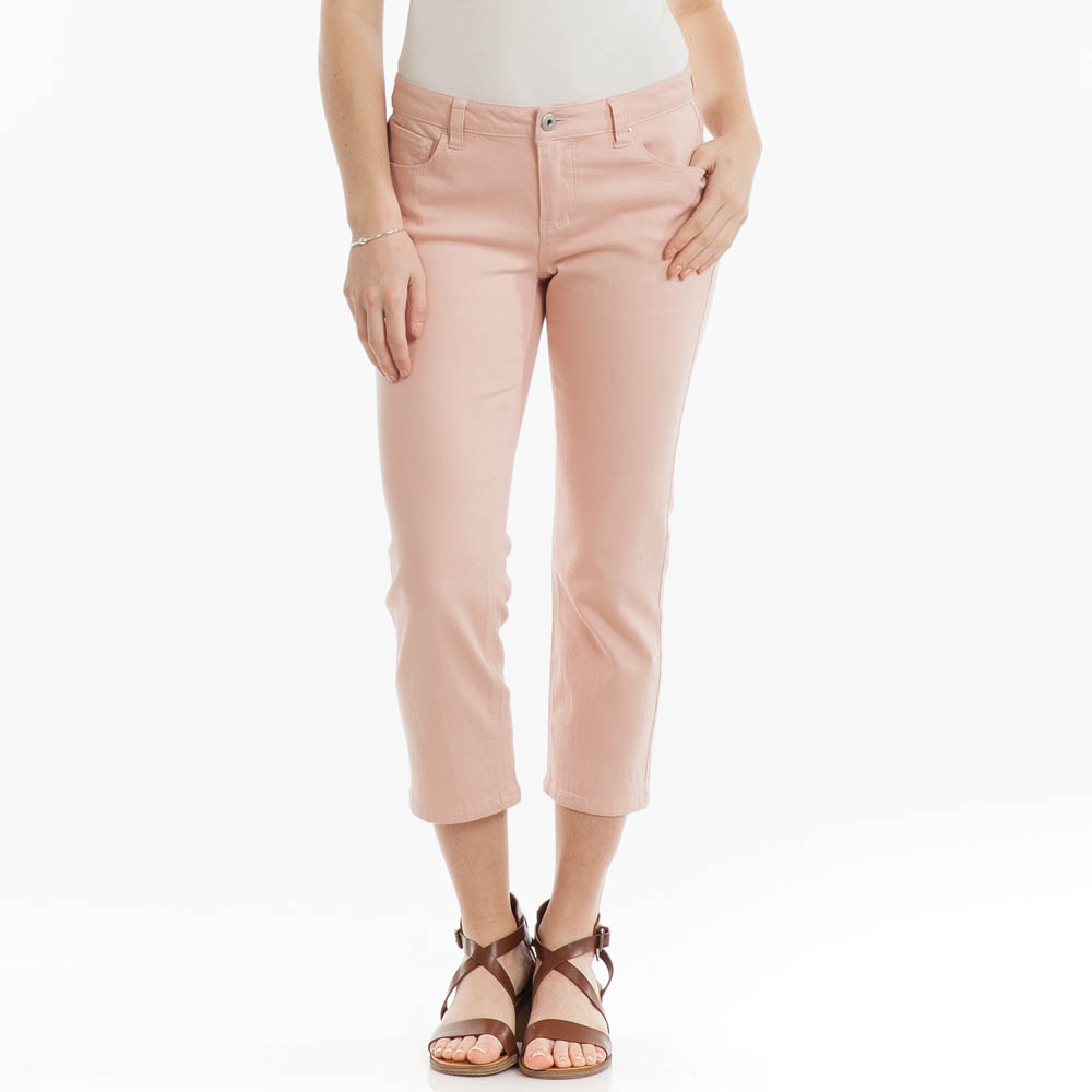 Adorn Fashions Stretched Denim Capris in Pale Pink