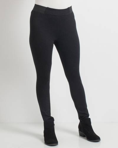 Black Texture Fitted Ponte Pants