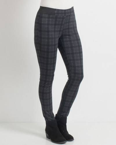 Black Plaid Fitted Ponte Pants