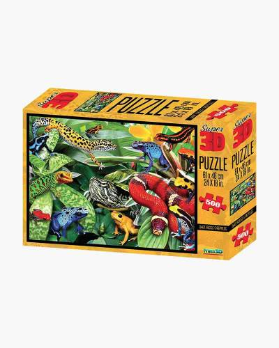 Super 3D Poison Dart Frogs and Reptiles Jigsaw Puzzle (500pc)