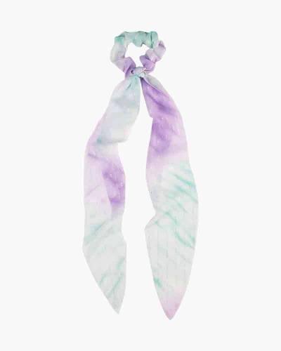 Chiffon Tie Dye Scrunchie Scarf in Green and Purple