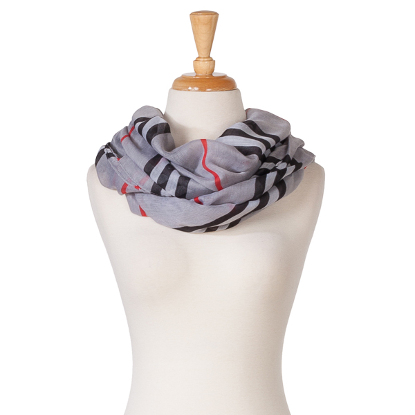 Very Moda Stripe Plaid Infinity Scarf