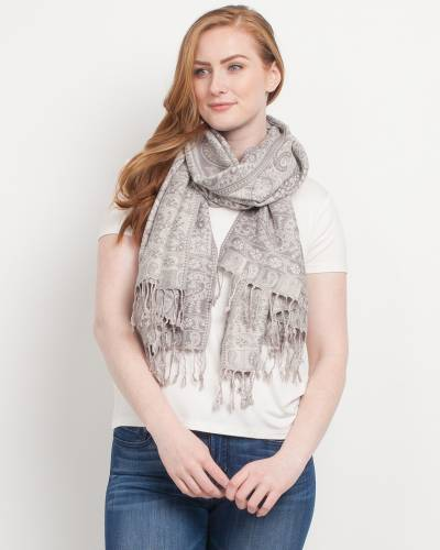 Symmetrical Paisley Pashmina Scarf in Light Grey