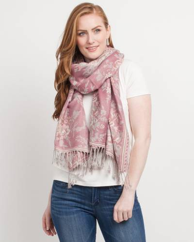 Floral Bouquet Pashmina Scarf in Light Pink