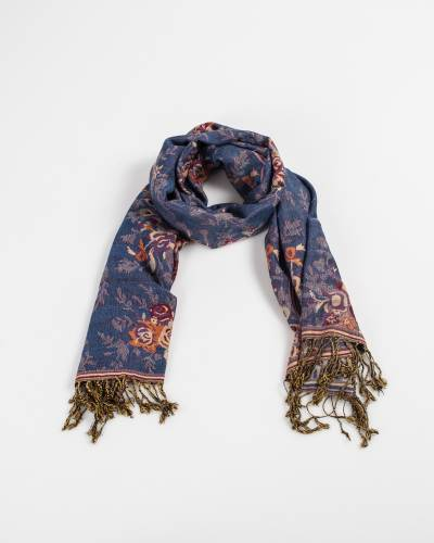 Floral Bouquet Pashmina Scarf in Denim