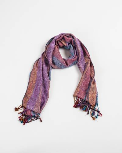 Multi Color Row Paisley Pashmina Scarf in Pink