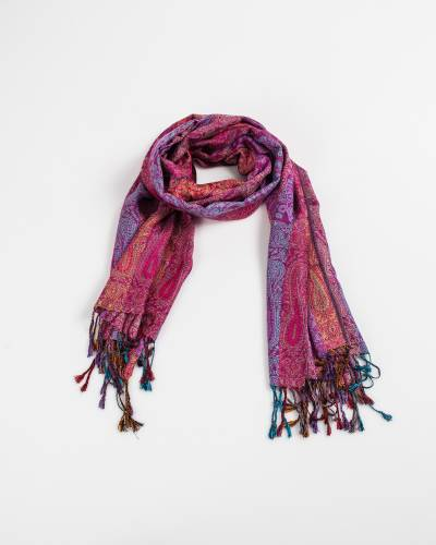 Multi Color Row Paisley Pashmina Scarf in Fuschia