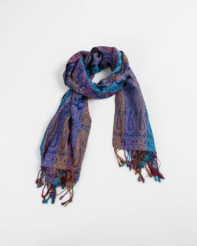 Multi Color Row Paisley Pashmina Scarf in Blue