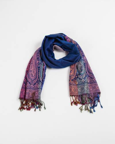 Two Sides Long Paisley Pashmina Scarf in Blue