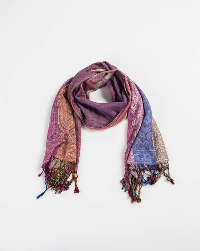 Two Sides Long Paisley Pashmina Scarf in Light Pink