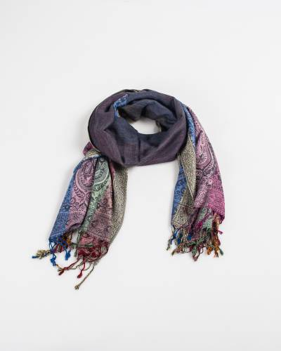 Two Sides Long Paisley Pashmina Scarf in Grey