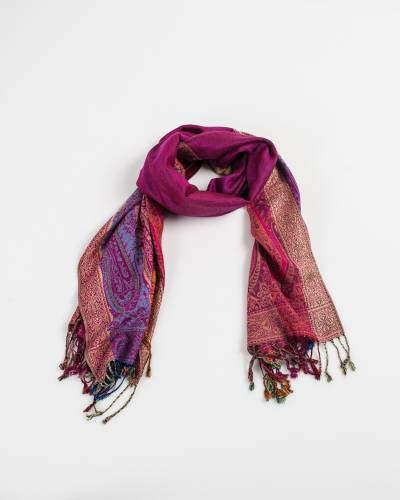 Two Sides Long Paisley Pashmina Scarf in Fuschia