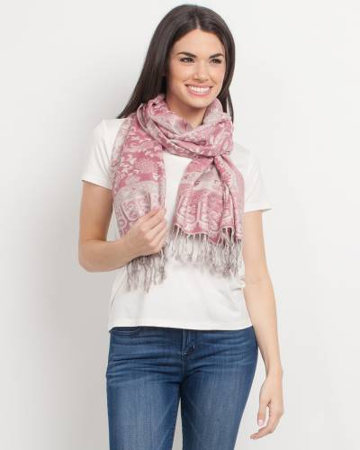 Paisley with Frame Pashmina Scarf in Pink
