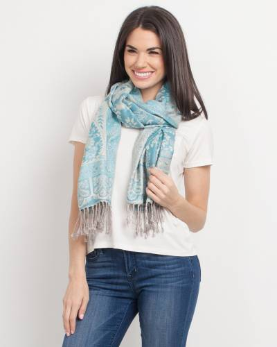 Paisley with Frame Pashmina Scarf in Aqua