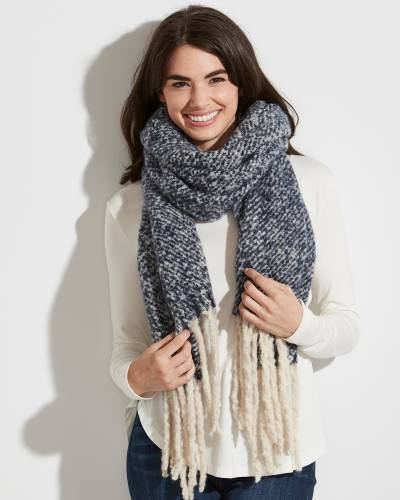 Solid Sprinkle Scarf with Fringe in Navy