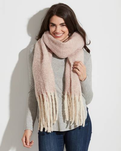 Solid Sprinkle Scarf with Fringe in Pink