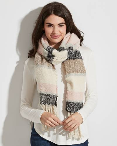 Striped Scarf in Pink, Ivory, and Taupe