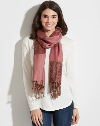 Striped Paisley Pashmina Scarf in Pink and Ivory