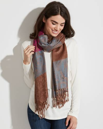 Striped Paisley Pashmina Scarf in Pink, Blue, and Taupe