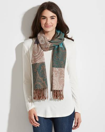 Striped Paisley Pashmina Scarf in Green, Teal, and Taupe