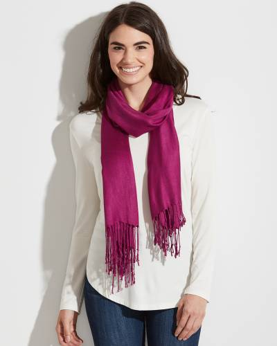 Solid Pashmina Scarf in Bright Pink