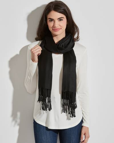 Solid Pashmina Scarf in Black