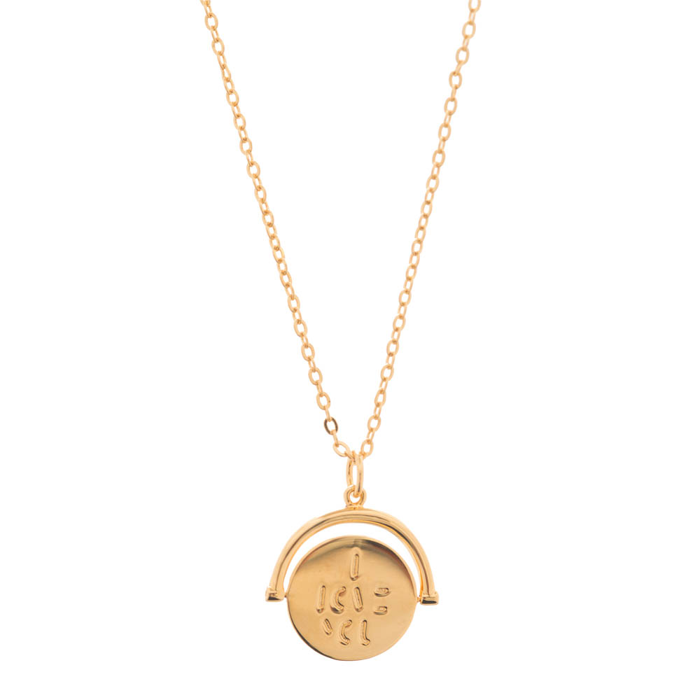 Lulu DK I Love You Code Charm Necklace in Gold