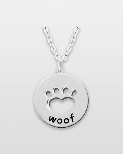 Woof Pawprint Pewter Necklace