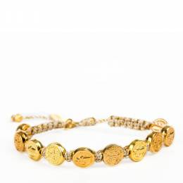 My Saint My Hero Benedictine Blessing Gold Medals Bracelet (Gold Cord)